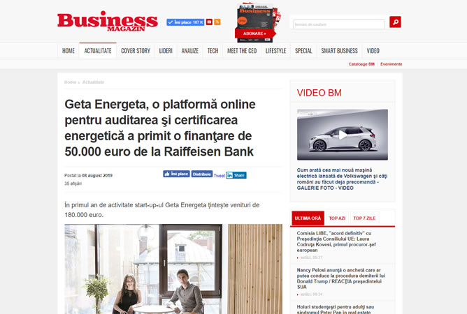Geta Energeta in Business Magazin Online, 8 August 2019