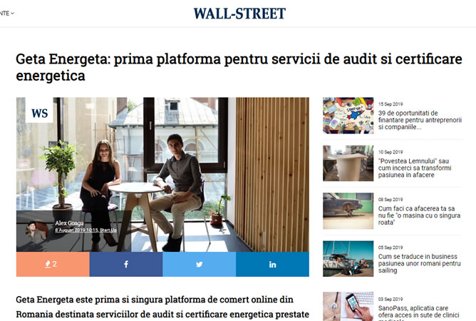 Geta Energeta in WALL-STREET Online, 8 August 2019