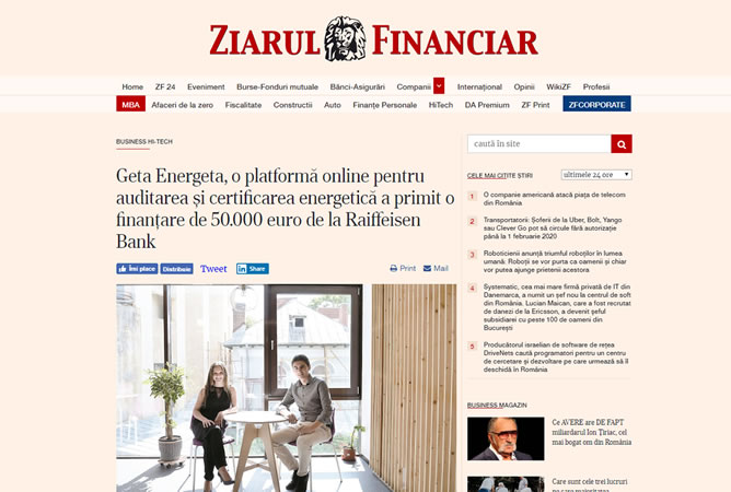 Geta Energeta in Ziarul Financiar Online, 8 August 2019