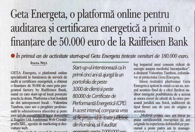 Geta Energeta in Ziarul Financiar Print, 8 August 2019