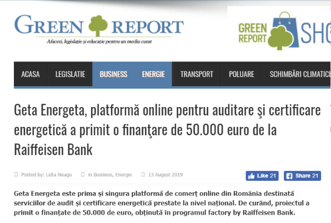 Geta Energeta in Green Report Online, 13 August 2019